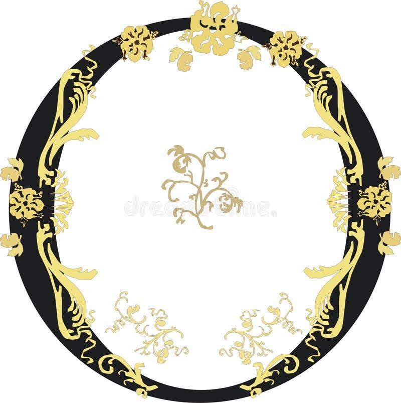 czarny złoty pierścionek ilustracja wektor