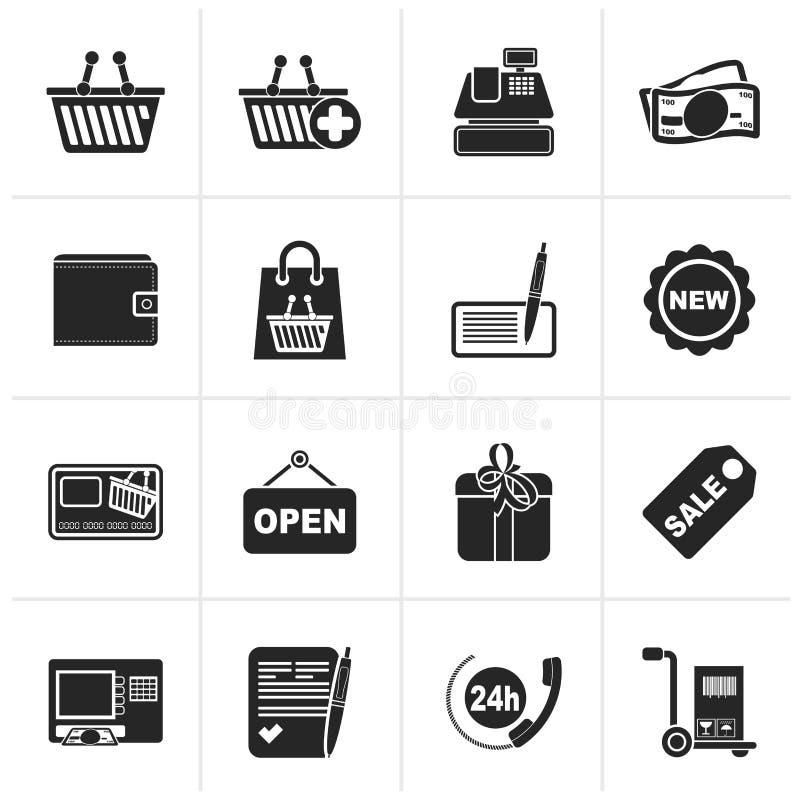 Czarny zakupy i detaliczne ikony ilustracja wektor