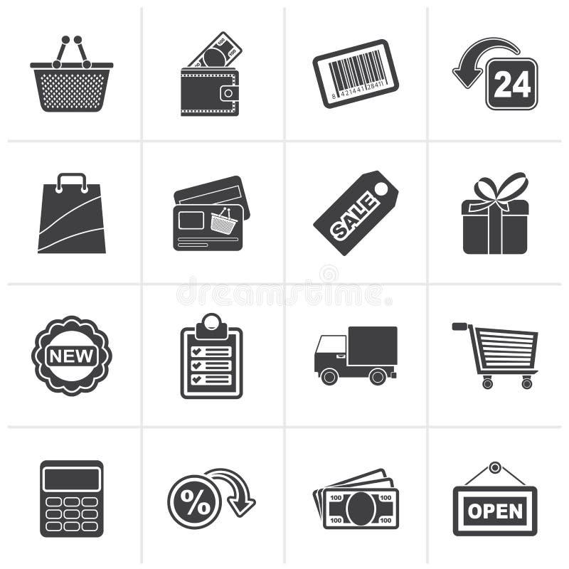 Czarny zakupy i detaliczne ikony royalty ilustracja