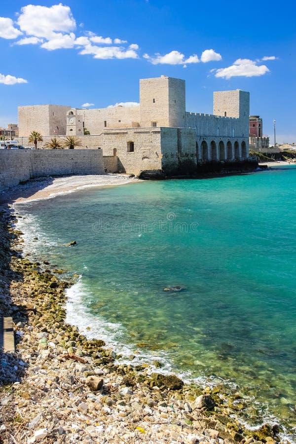 czarny zamek szachów kawałek refleksje white Trani Apulia Włochy fotografia stock