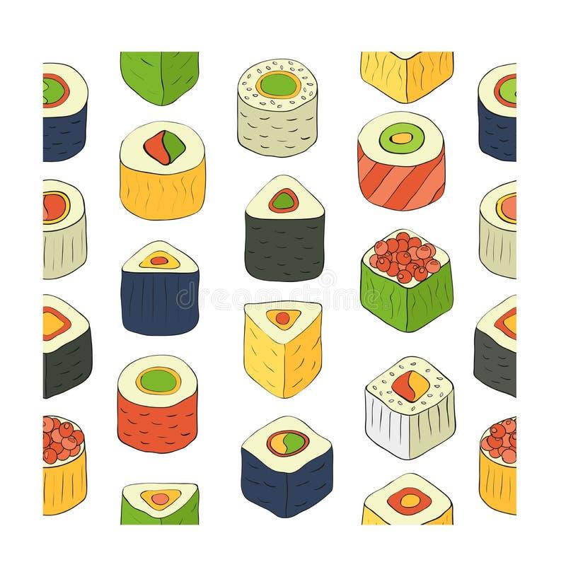 czarny zestaw strzały sushi royalty ilustracja