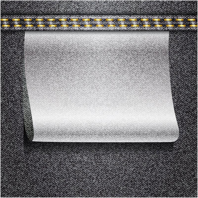 Czarnych cajgów realistyczna drelichowa tekstura ilustracji