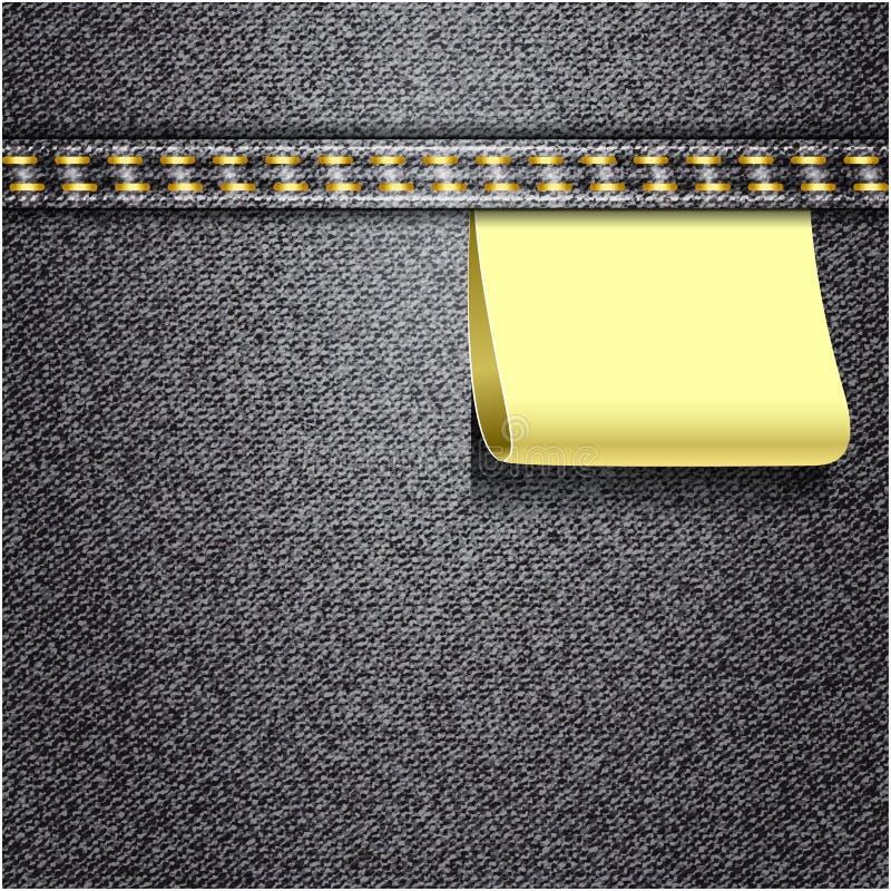 Czarnych cajgów realistyczna drelichowa tekstura ilustracja wektor