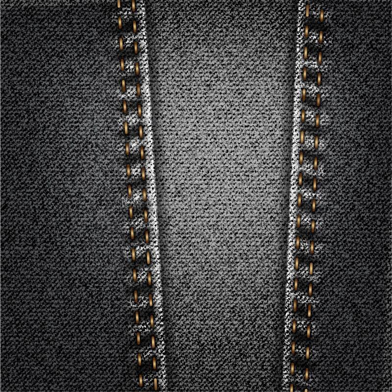 Czarnych cajgów tkaniny Drelichowa tekstura Z ściegiem ilustracji