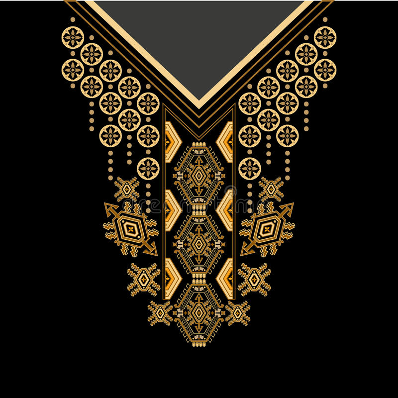 Czarnych i złotych kolorów kwiatów etniczna szyja Paisley dekoracyjna granica royalty ilustracja