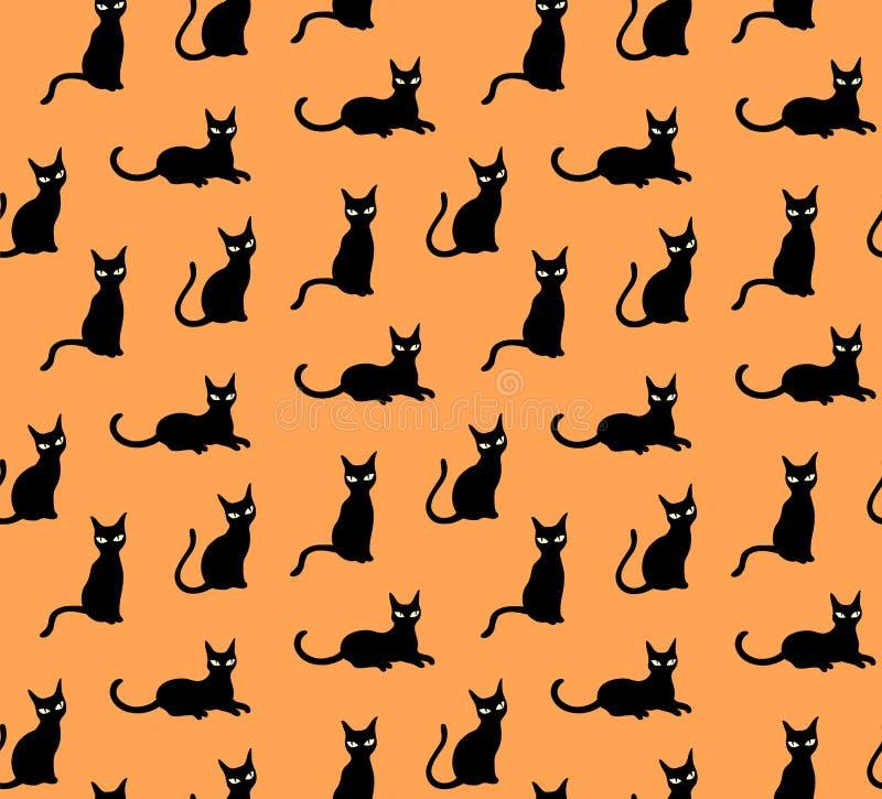 Czarnych kotów śliczny deseniowy wektor na pomarańczowym tle royalty ilustracja