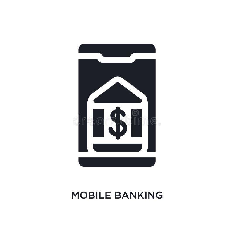 czarnych mobilnych bankowość odosobniona wektorowa ikona prosta element ilustracja od mobilnych app pojęcia wektoru ikon Mobilna  royalty ilustracja