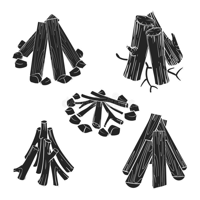 Czarnych sylwetek drewniane bele dla pożarniczej wektorowej ilustraci ilustracja wektor