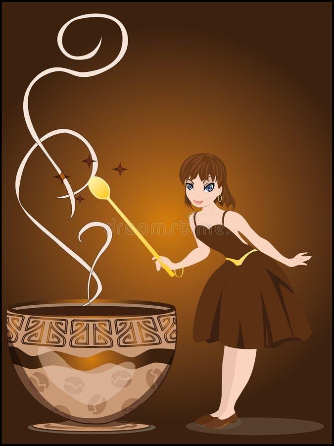 Czarodziejka czaruje z filiżanką kawy royalty ilustracja