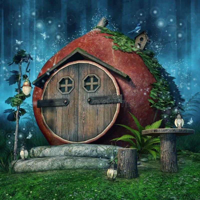 Czarodziejka dom z lampionami ilustracji