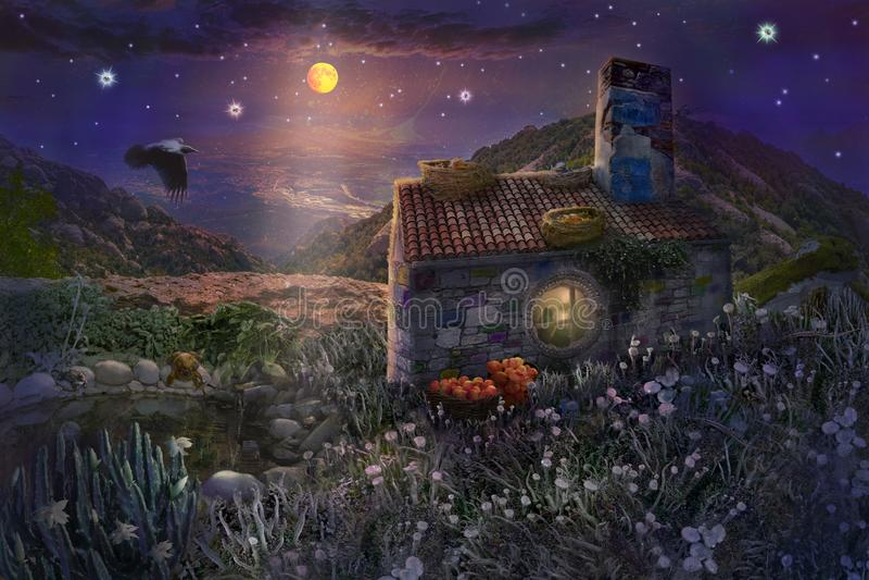 Czarodziejka kamienia dom z gniazdeczkami na dachu i staw z żabami w magicznym lesie gwiaździsta noc z jaskrawą księżyc w niebie ilustracja wektor