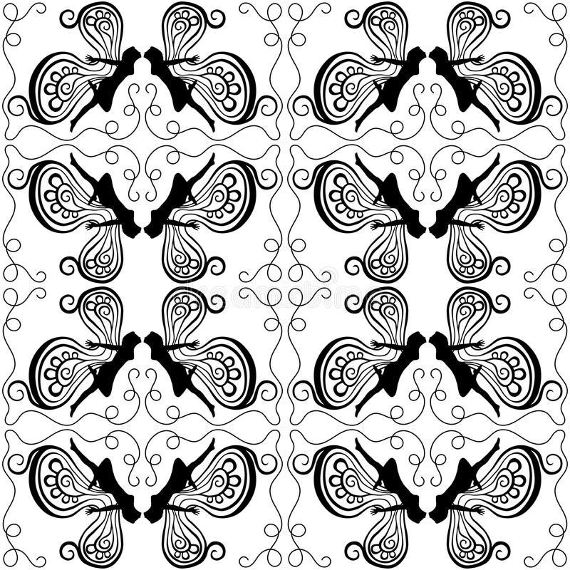 Czarodziejki Całuje Bezszwowego wzór royalty ilustracja