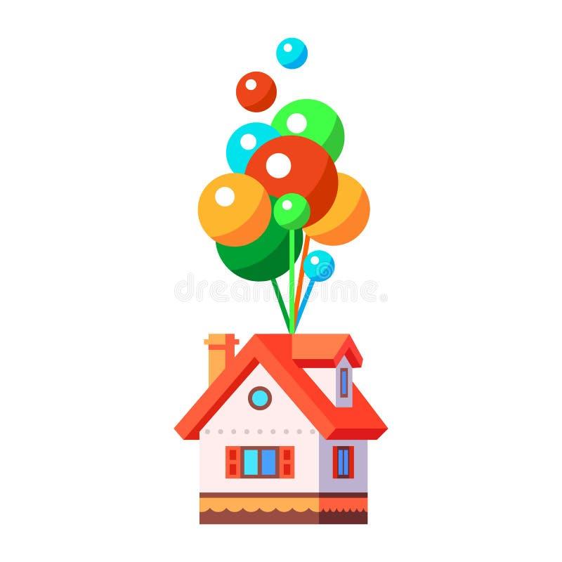 Czarodziejki domowy latanie na balonach ilustracji