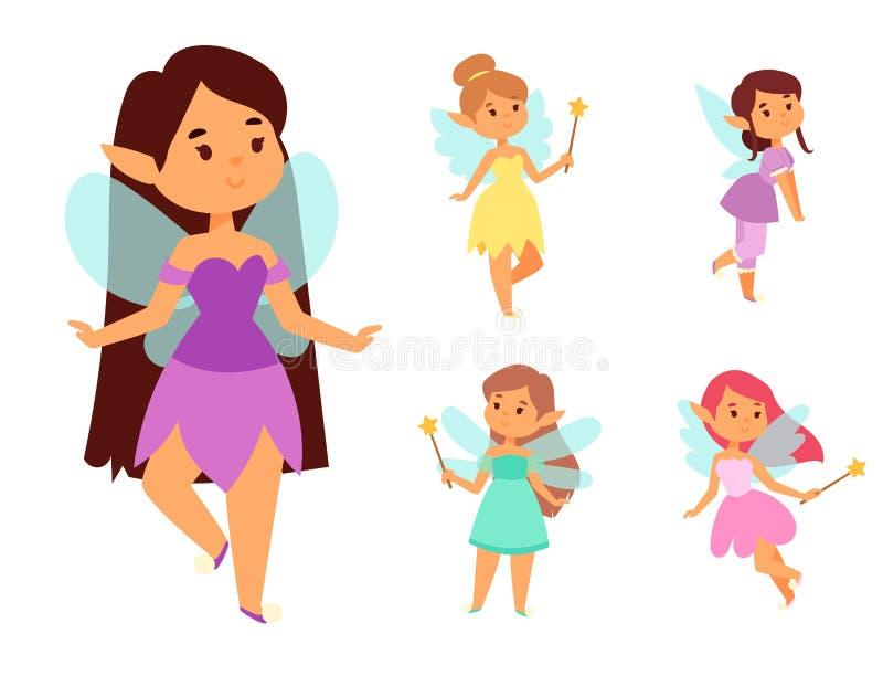 Czarodziejki princess dziewczyny charakteru kreskówki czarodziejskiej wektorowej ślicznej pięknej stylowej trochę bajkowej mody k ilustracji
