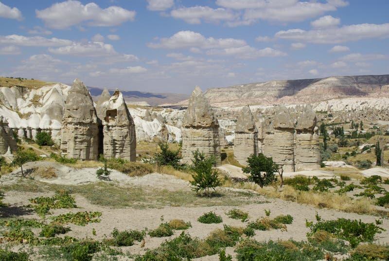 Czarodziejscy kominy, typowe geologiczne formacje Cappadocia fotografia royalty free