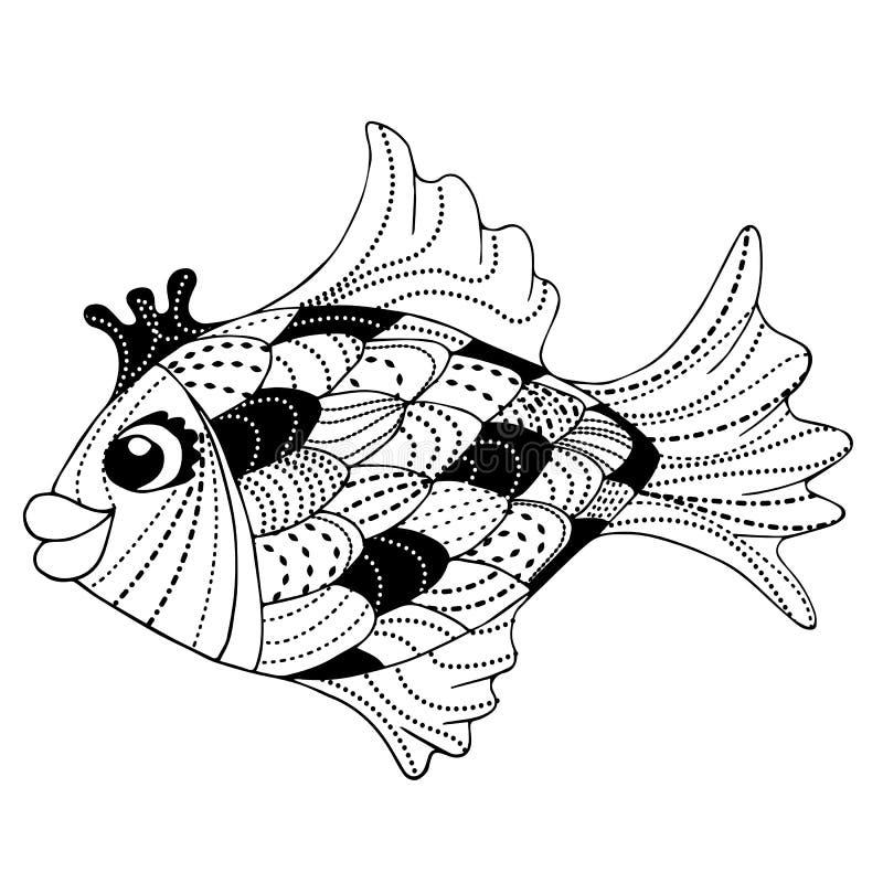Czarodziejska goldfish zen sztuki doodle wektoru ilustracja royalty ilustracja
