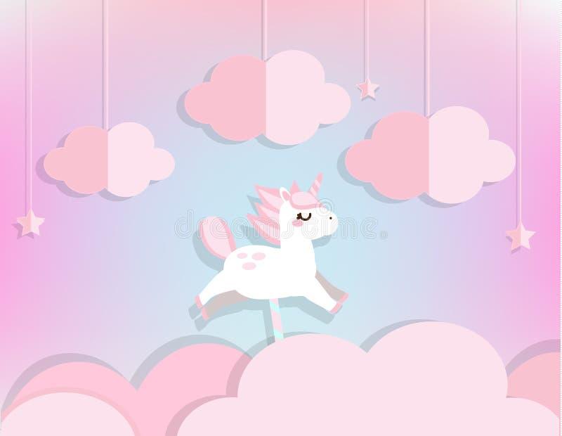 Czarodziejska jednorożec w menchiach Chmurnieje i gra główna rolę w miękkim niebieskim niebie Tło w papieru cięciu, papierowego r ilustracji