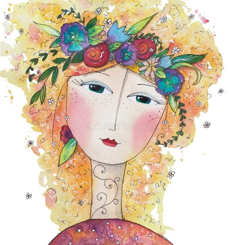 Czarodziejska wiosna i lato beak dekoracyjnego latającego ilustracyjnego wizerunek swój papierowa kawałka dymówki akwarela ilustracja wektor