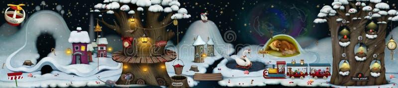 Czarodziejska zimy noc ilustracja wektor