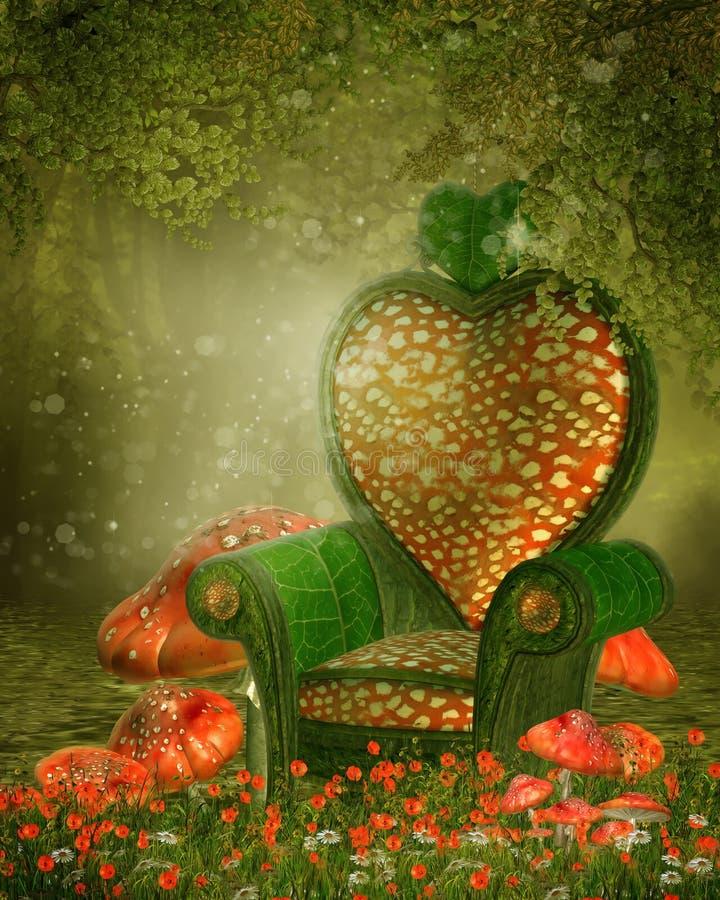 Czarodziejski krzesło i pieczarki royalty ilustracja