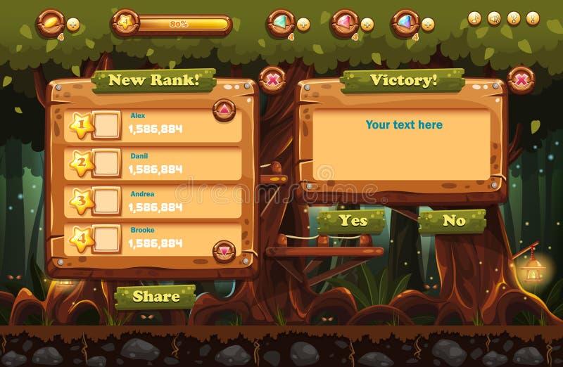 Czarodziejski las przy nocą z latarkami i przykładami ekrany, guziki, bary progresi dla gier komputerowych i sieć projekt, Set 3 royalty ilustracja