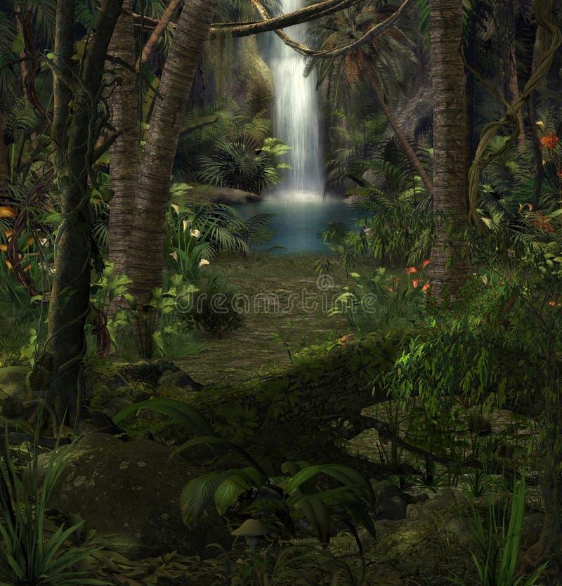 Czarowna dżungli siklawy sceneria ilustracja wektor
