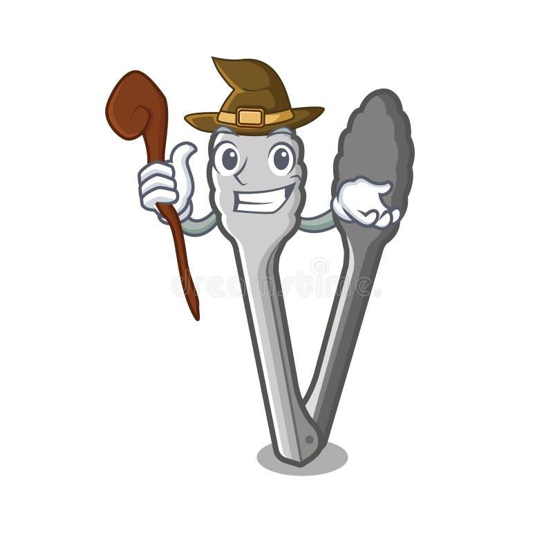 Czarownic tongs w kreskówki kuchni ilustracji