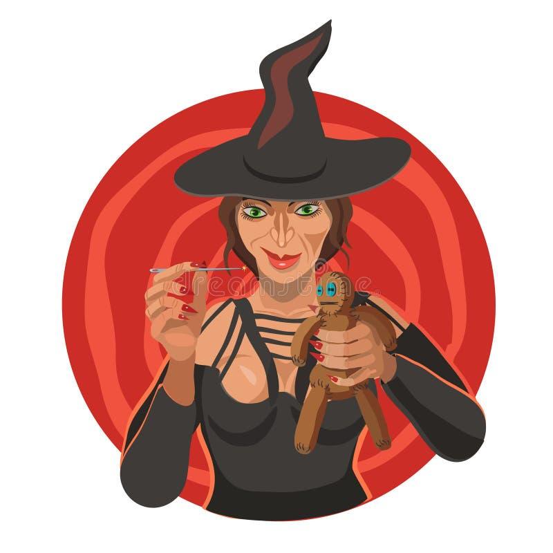 Czarownica ciska czary nad lal? tworzy energi? royalty ilustracja