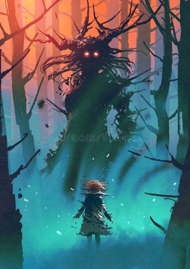 Czarownica czarni drewna royalty ilustracja