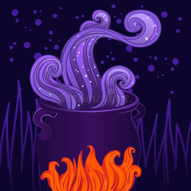Czarownica halloweenowy kocioł ilustracja wektor