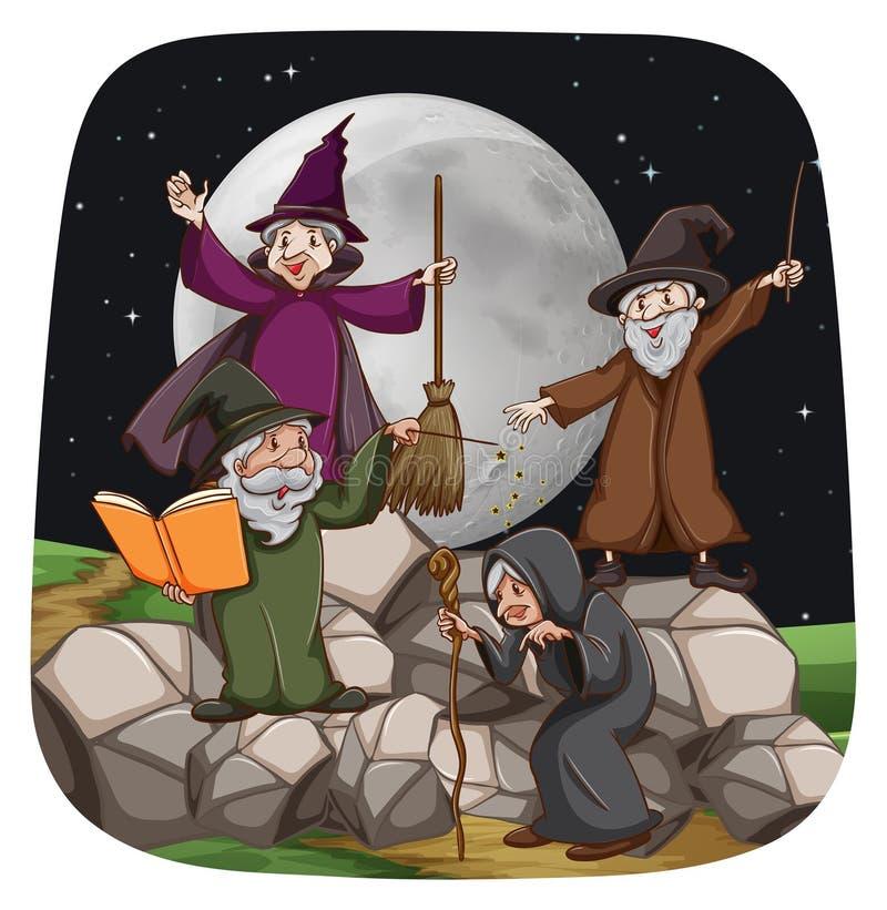 Czarownica i czarownik royalty ilustracja
