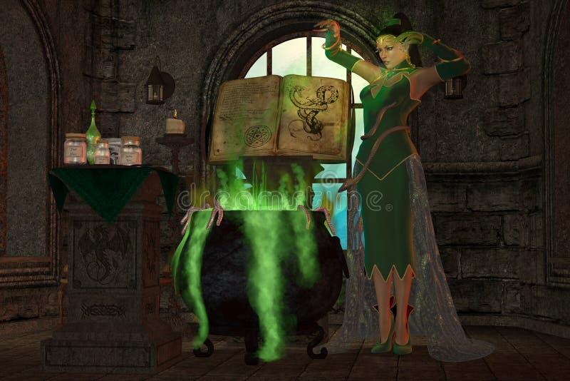 Czarownica kocioł ilustracja wektor