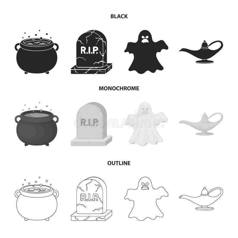 Czarownica kocioł, nagrobek, duch, dżin lampa Czarny i biały magii ustalone inkasowe ikony w czarnym, monochrom ilustracji