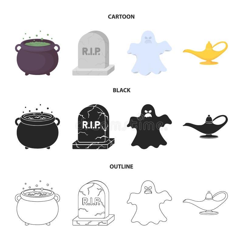 Czarownica kocioł, nagrobek, duch, dżin lampa Czarny i biały magii ustalone inkasowe ikony w kreskówce, czerń, kontur ilustracja wektor