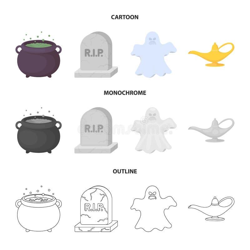 Czarownica kocioł, nagrobek, duch, dżin lampa Czarny i biały magii ustalone inkasowe ikony w kreskówce, kontur ilustracja wektor
