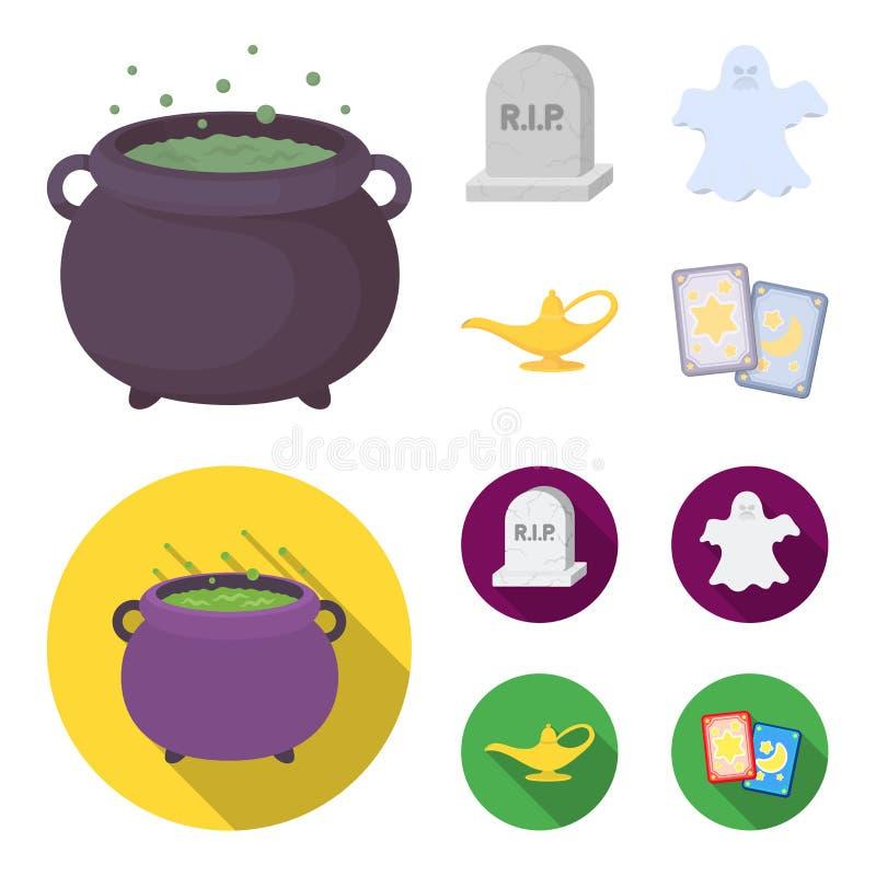 Czarownica kocioł, nagrobek, duch, dżin lampa Czarny i biały magii ustalone inkasowe ikony w kreskówce, mieszkanie styl royalty ilustracja