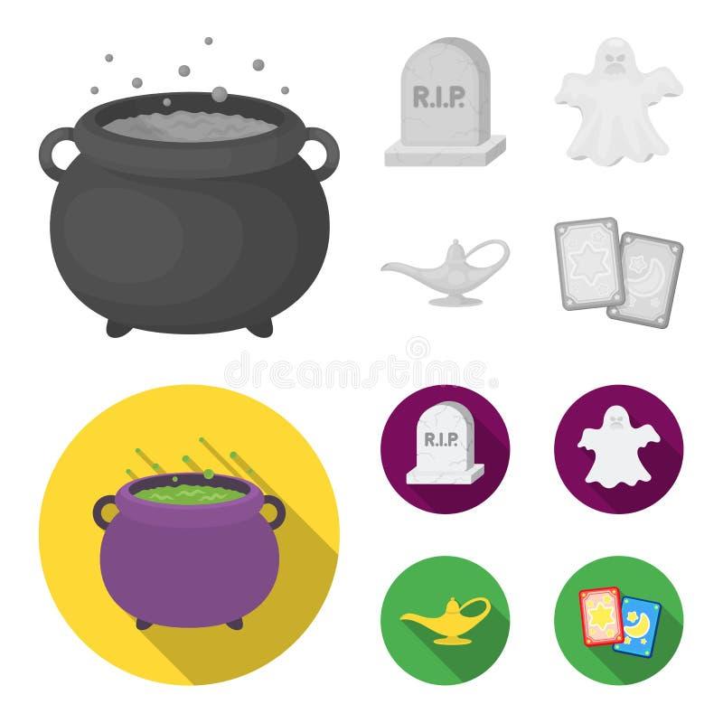 Czarownica kocioł, nagrobek, duch, dżin lampa Czarny i biały magii ustalone inkasowe ikony w monochromu, mieszkanie styl ilustracja wektor
