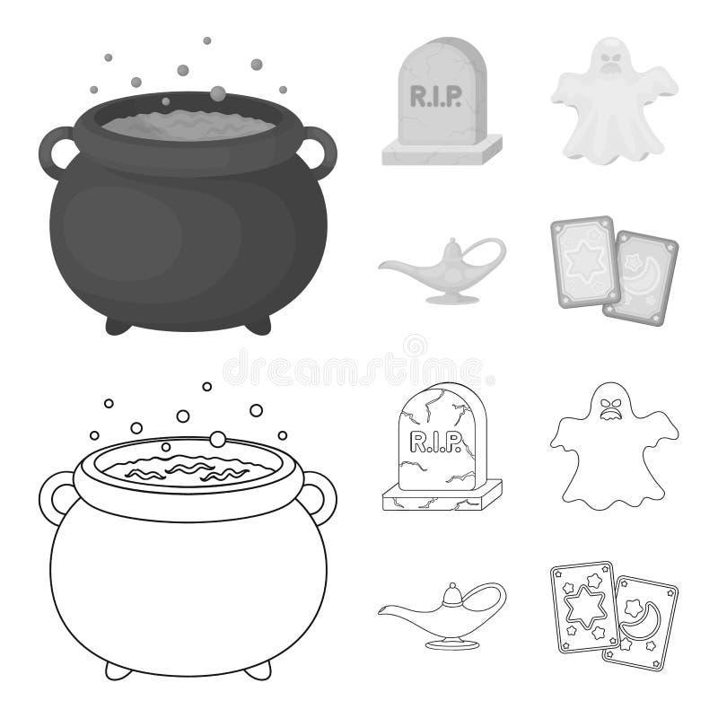 Czarownica kocioł, nagrobek, duch, dżin lampa E royalty ilustracja