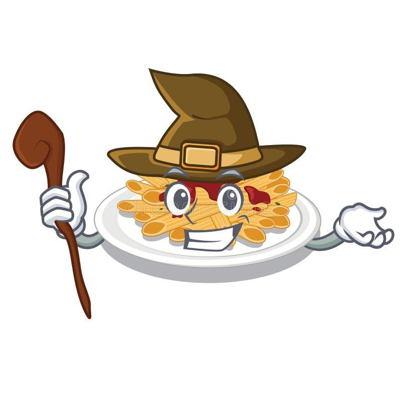 Czarownica makaron w maskotka kształcie ilustracja wektor
