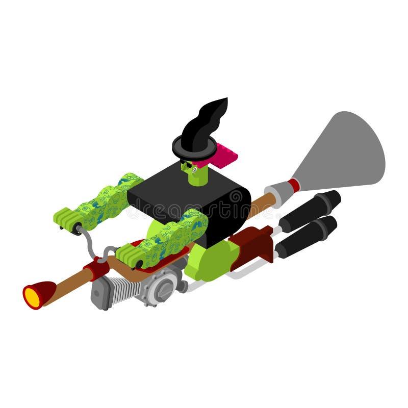 Czarownica na bieżnej miotle Isometric Broomstick Przyśpiesza Turbo hallelujah royalty ilustracja