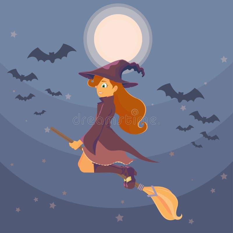 Czarownica na broomstick ilustracja wektor