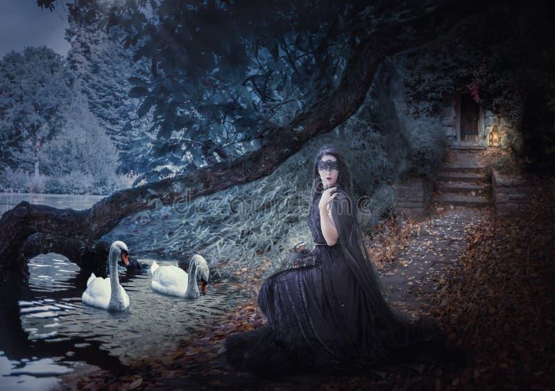 Czarownica na jeziorze karmi łabędź obrazy royalty free
