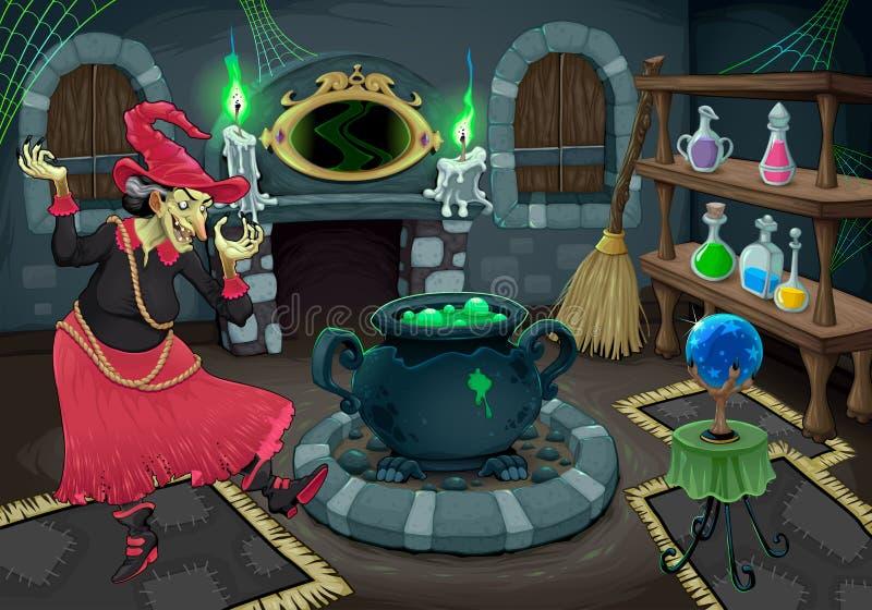 Czarownica w jej swój pokoju ilustracji