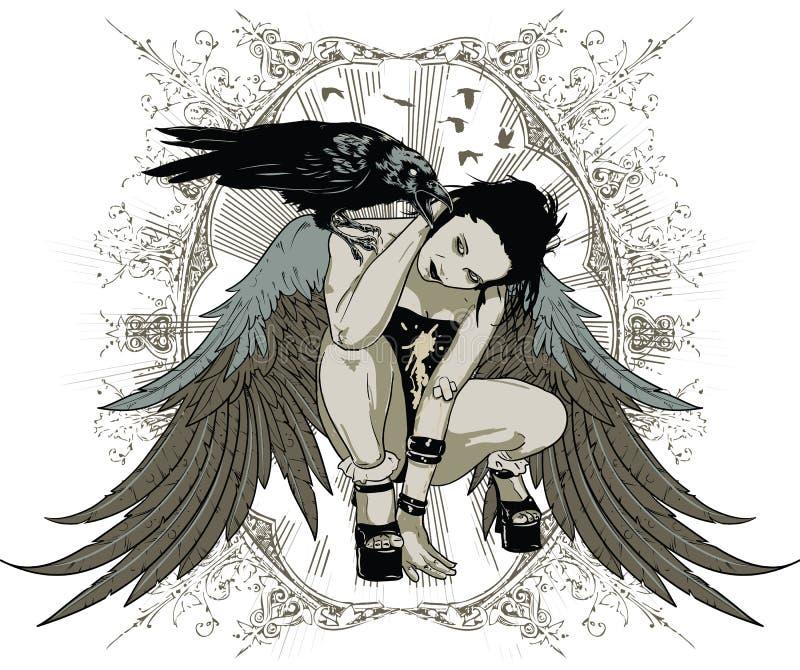 Czarownicy wrona ilustracja wektor