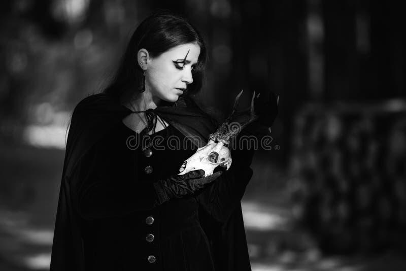 Czarownica z czaszką zdjęcie royalty free