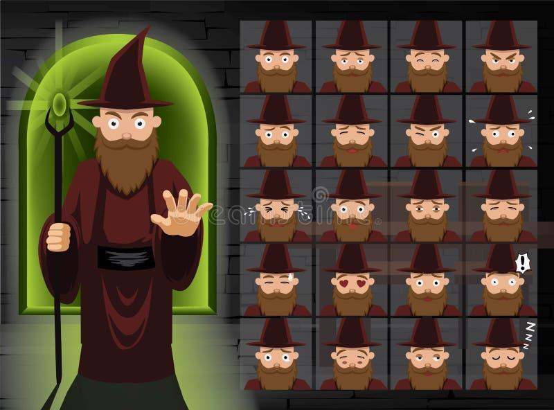 Czarownicy Brown czarownika kreskówki emocja Stawia czoło Wektorową ilustrację ilustracja wektor