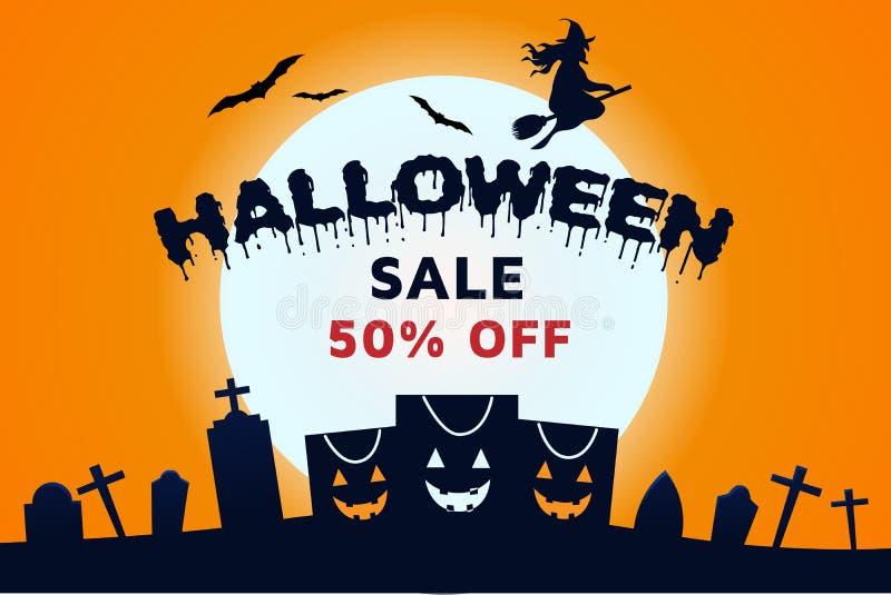 Czarownicy Halloweenowa sprzedaż Z sztandar tapety ilustracja wektor
