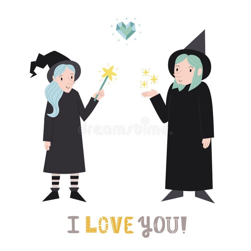 Czarownicy i czarownika śliczna para w miłości z kierową wektorową ilustracją Kocham ciebie! kartka z pozdrowieniami royalty ilustracja