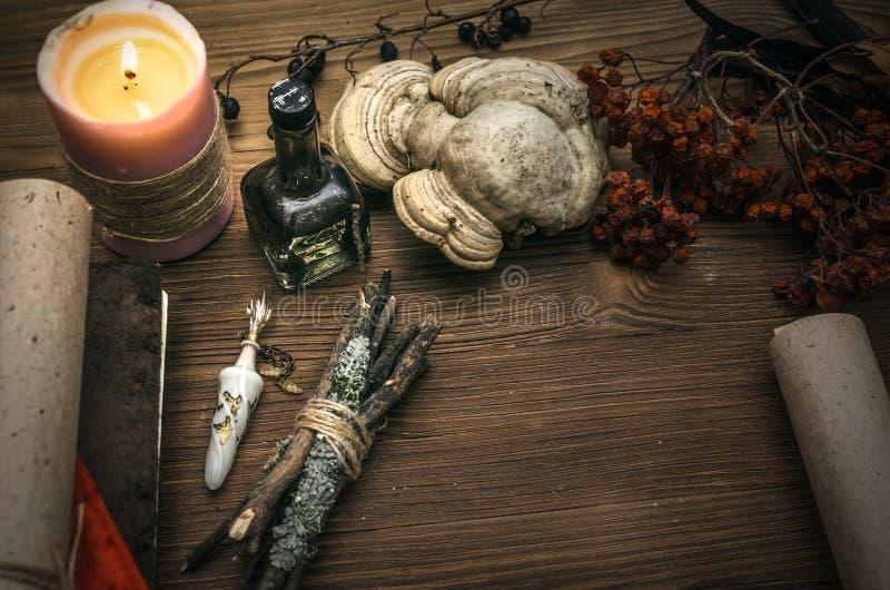 Czarownicy lekarka szamany guślarstwo Magia stół alternatywna wanny bambusa biloba rzeczy ginkgo leków, tray w spa obrazy royalty free