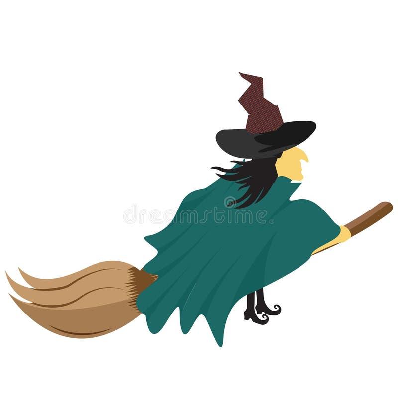 czarownicy miotła, czarownica kolor Odizolowywał Wektorową ikonę która może być łatwo redaguje lub modyfikuje royalty ilustracja